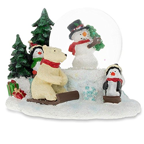 Snowman, Polar Bear and Penguins Mini Snow Globe ()