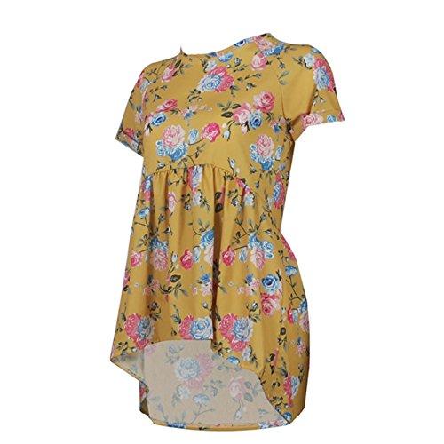 CYBERRY.M T-shirt Été Casual Femme Manches Courtes Fleur Plissée Blouse Tee Top Jaune