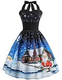 Weihnachtskleid Damen Elegant Kleider Vintage Weihnachten Gedruckt  Ballkleid Neckholder Ärmellose Abendkleid Lang Swing-Kleid… d4400191bc