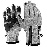ATNKE Touchscreen Handschuhe,Fahrrad-Handschuhe Wasserdichte Winter Outdoor Bike Laufen Klettern Skihandschuhe für Männer und Frauen Einstellbare Größe, S-2XL/Grau/S