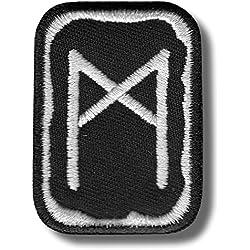 Mannaz Rune - Parche para planchar/coser, 4 x 5 cm