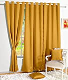 Bedspun Blackout Ring Top Plain Premium 2 Piece Eyelet Silk Door Curtain Set - 7ft, Mustard