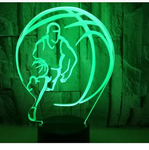 3D LED Night Light Gioca a basket con 7 colori di luce per la decorazione domestica Dribble Come lampada Amazing Visualization Optical