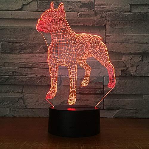 MJBOY 3D-Lampe LED Nachtlicht optische Illusion 7 farblich wechselnde USB-Touch-Taste und intelligente Fernbedienung Tischbeleuchtung schöne Geschenk-Home-Office-Dekorationen Spielzeug (Pit Bull) - Bull Pit Spielzeug