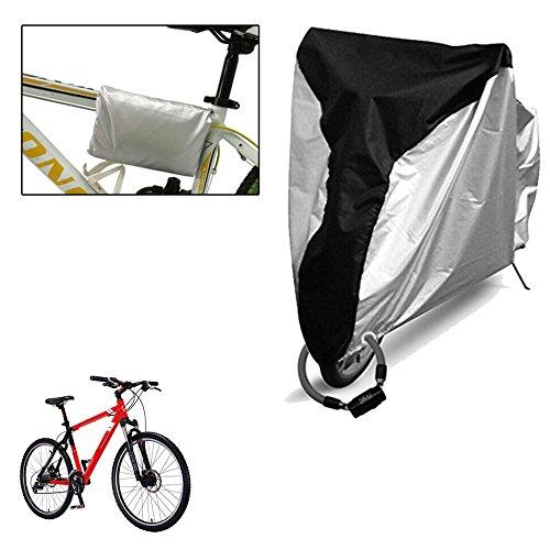 Haosen Fahrradabdeckung 190T mit Silber beschichtete Tuch Fahrradgarage Fahrradschutzhülle - Sonnenschutz wasserdicht und staubdicht - XL(200x70x110cm)Silber