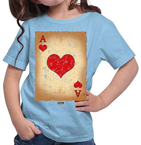 HARIZ  Mädchen T-Shirt Spielkarte Herz Ass Karneval Verkleidung Plus Geschenkkarten Himmel Blau 104/3-4 ()