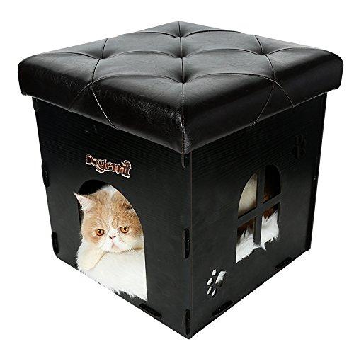 Ottomano Pet Con Lino, Nero Bianco Beige Marrone pieghevole Casa in legno fatta a mano di alta qualità solido contenitore di legno , black
