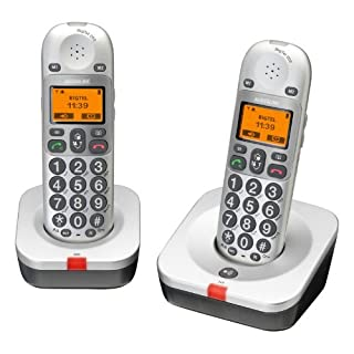 AUDIOLINE BigTel 202 snurloses Großtastentelefon mit zwei Mobilteilen