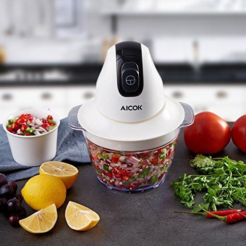 Aicok MiniMulti Zerkleinerer, Finecut,Obst und Gemüse Zerkleinerer, 300 Watt, 1L, Weiß -