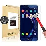 [2 unités] Huawei Honor 8, Linboll Film Protection d'écran en Verre Trempé Glass Screen Protector Vitre Tempered pour Huawei Honor 8 - Dureté 9H, Ultra-mince 0. 25 mm, 2. 5D Bords Arrondis- Anti-rayure, Anti-traces de Doigts, Haute-réponse, Haute transparence