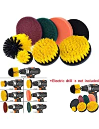 Tensay 8 Piece Drill Brush Scrub Pads Power Scrubber Cleaning Kit All Purpose Cleaner Scrubbing Cordless Drill for Cleaning Pool, Home Garden Tool Accessory