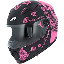 Astone Helmets gt2g-ladyc-bpm casco Moto Integral GT Lady Custom, Negro/Rosa, talla M