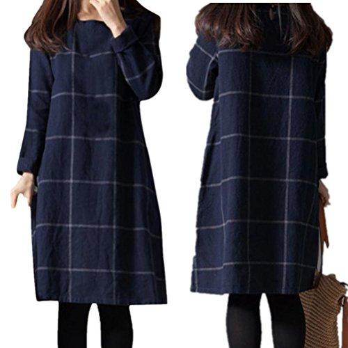 Collection Shirt-kleid (Damen Kleid,DOLDOA O-Ausschnitt Einfarbig Lose Streifen Lange Ärmel Oberteil Knielang Kleid (EU: 46, Blau))