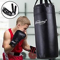 Junior Boxsack-Kit   Ø30 cm, H70 cm, Gewicht 13 kg, Gefüllt, mit Boxhandschuhen und Springseil für Kinder und Jugendliche Training - 8 oz inkl. Karabinerhaken   Boxsack-Kit, Sandsack, Kickboxen, MMA, Kampfsport, Muay Thai, Punching Bag