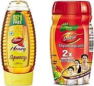 Dabur Honey 400g Squeezy Pack (Buy 1 Get 1 Free) and Dabur Chyawanprash 500gm (Get 75g Free) Combo Pack