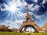 Posterlounge Lienzo 160 x 120 cm: La Tour Eiffel with Sky and Meadows de Editors Choice - Cuadro Terminado, Cuadro sobre Bastidor, lámina terminada sobre Lienzo auténtico, impresión en Lienzo