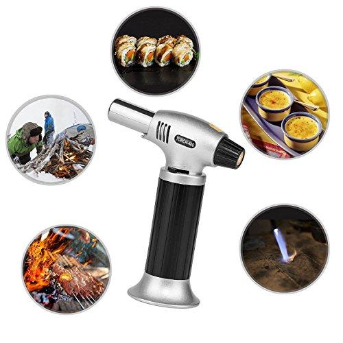 Lypumso Flambierbrenner Küchenbrenner für Creme Brulee Butangasbrenner Küche, Flammentemperatur 1300°C, Gr. 12*6*15,5cm 210g, Butan nicht enthalten - Schwarz