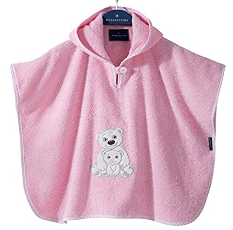 Morgenstern, hochwertiger Frottee - Bade - Poncho aus 100 % Baumwolle, Farbe rosa, Motiv Eisbär, Größe one size (ca. 1 bis 3 Jahre)