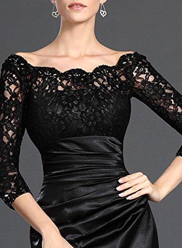 AZBRO Damen Schick Spitzeneinsatz Glockenärmel Prom Kleid Black