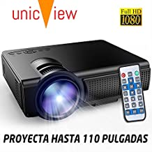 Proyector Full HD 1080P compatible, Unicview SG130, Proyectores maxima luminosidad Portátil Proyectores LED Projector LCD Cine en casa 1920x1080 HDMI VGA USB multimedia, proyector barato para PS4, PC, XBOX ONE, Nintendo Switch
