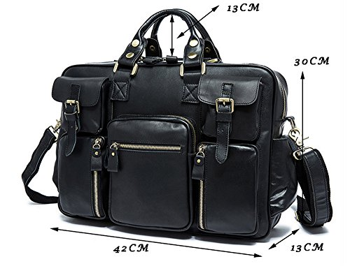 Xinmaoyuan uomini Borsette in pelle maschile retrò grande capacità multifunzione portatile borsa da viaggio,Nero Nero