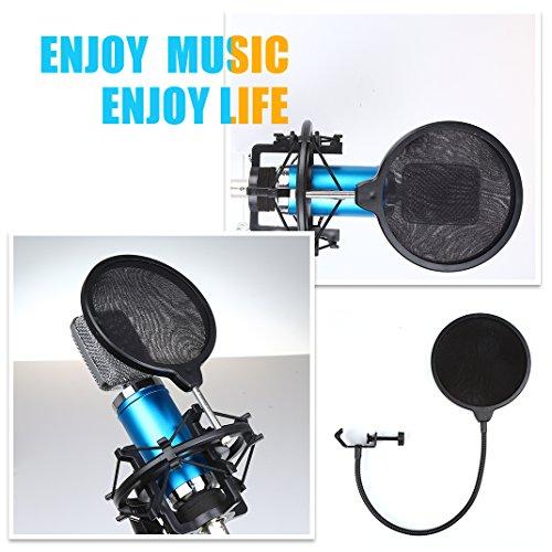 Mikrofon Filter, Crenova Mikrofon Windschutz Profi Popfilter Popschutz Popkiller Popschirm für Mikrofon Mic Maske Studioaufnahmen zweilagiges Design -