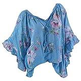 Auiyut Damen Blusen V-Ausschnitt Loose Elegant Blumenmuster Drucken Langarm Button Bluse Pullover Tops Shirt Unregelmäßige Rand Spitzenbluse Hemdshirt