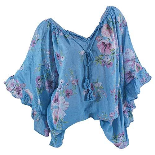 MOTOCO Damen Übergröße T-Shirt Top Blumendruck 3/4 Ärmel V-Ausschnitt Spitze Riemchen Sommer Tees Bluse(4XL,Blau)