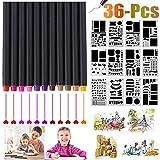 Accessori per stencil per diario, Outgeek 36 Pennelli per Fineliner per PC e stencil per planner fai da te su album, diario, quaderno, diario