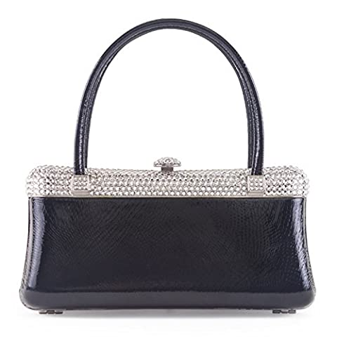 Luxury Leather Handbag with Swarovski Crystals (Black)