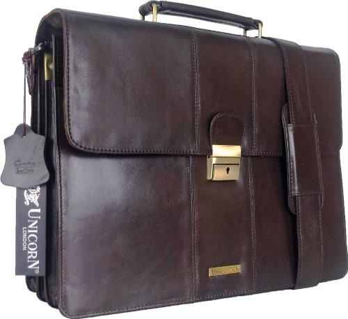 UNICORN Echt Leder Braun Tasche Unternehmen/Business Exekutive Aktentasche Schlüssel sperren Messenger bag #3N (Messenger Erweiterbar Bag Braun)