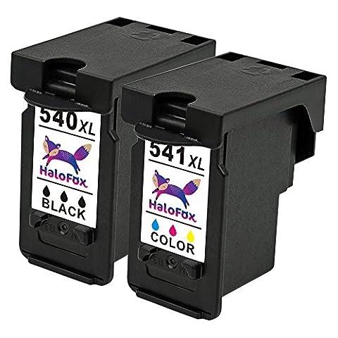 Halofox 2 Cartouches d'encre Remanufacturée PG-540XL CL-541XL pour Canon PIXMA MX475 MX515 MX455 MX435 MX395 MX375 MG4250 MG4150 MG3550 MG3150 MG3250 MG2250 MG2150 MX525 MX535 MG3650 Imprimante (Noir &