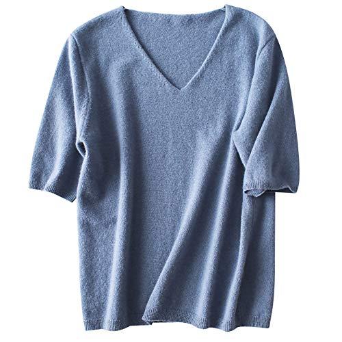 FWJ-clothes V-Ausschnitt Pullover Pullover Womens Shirt Strickwaren Pullover Halbarm Solide Beiläufige Lose Sweatshirts,Blue,XL -
