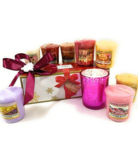 Sindy bomboniere yankee candle votivo 2 con 1 portacandela in vetro stile moderno (confezione regalo con scatola yankee)