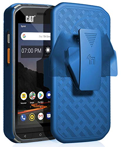 CAT S48c Hülle mit Clip, nakedphone Kickstand Cover mit [drehbar/ratsche] Gürtel Hüftholster Halter Combo für Caterpillar CAT S48c Handy (Verizon, Sprint, entsperrt), blau - Verizon Handys Von Entsperrt