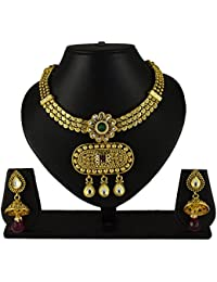 Sadnya Traditional Necklace Set With Earring For Bridal Jewellery Antique Finish Necklace Set - ANK03