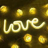 LED Leuchtreklame Love Shaped Nachtlicht, Neonlicht Wandleuchte für Weihnachten, Geburtstagsfeier, Kinderzimmer, Wohnzimmer, Hochzeit Party Decor, angetrieben durch Batterie oder USB