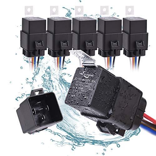 MICTUNING Set aus Relais-Relais zu Wassertest 40/30 Amp - 12 V SPDT Auto Relais und 5-PIN mit Kabelbaum für Arbeit Gewicht 16 AWG 14 AWG (Packung mit 5 Stück) Spdt-relais-verkabelung