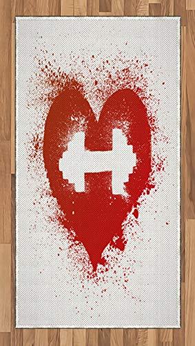 Abakuhaus Fitness Teppich, Rote Herz-Hantel-Kunst, Deko-Teppich Digitaldruck, Färben mit langfristigen Halt, 80 x 150 cm, Weiß und Rot