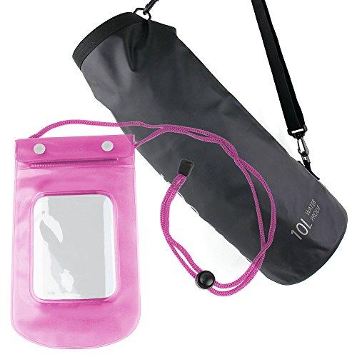 DURAGADGET - 10L wasserfeste Outdoor Tasche | See Sack | Trockentasche + Wasserdichte Tasche mit Halsband in Blau - Snowboard Mp3