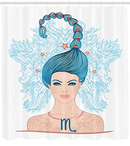 BBABYY Zodiac Scorpio Shower Curtain, Young Astrology Lady with Blue Hair as Scorpion Tail and Floral Details, Cloth Fabric Bathroom Decor Set with Hooks, 60 * 72 Inch, Multicolor Scorpion Cool Rod