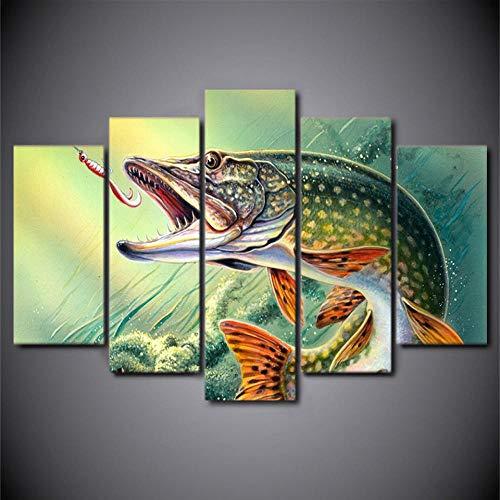 SANHAOZLH 5 Stücke Leinwand Kunst Angeln Haken Hecht Fisch Poster HD Print Home Decor Wandkunst Bilder Für Wohnzimmer Leinwand Malerei