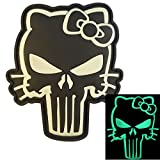 2AFTER1 Glow Dark Punisher Hello Kitty GITD Army Morale Tactical PVC Rubber 3D Hook&Loop Patch