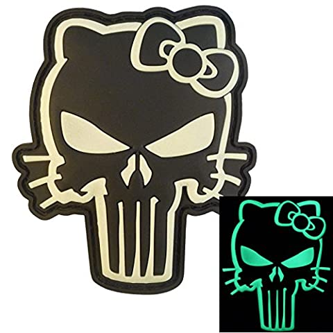 Glow Dark Punisher Hello Kitty GITD Armée Morale Tactical PVC Gomme 3D Fastener Écusson Patch