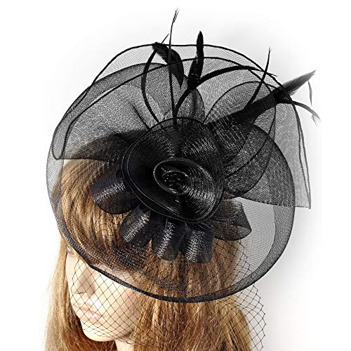 (Lh$Yu Frauen Fascinator Hat Blume Federn Clip Cocktail Party Headwear Hüte Party Derby Ball Bankett Festival Cap,Black)