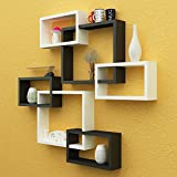 #10: Santosha Decor Wall Decoration Shelf Rack Set Of 6 Intersecting Floating Shelves - Storage Wall Shelves (Black White) Special Metallic Paint