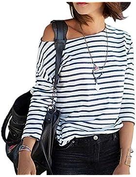 Minetom Mujeres Rayas Camiseta C