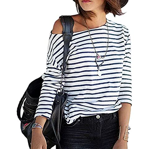 Minetom Mujeres Rayas Camiseta Con Manga Larga Fuera del Hombro Camisa BLouses T Shirt Pullover Sudadera