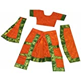 Fancyflight Orange Bharatnatyam Classical Dance Costume For Girls Fancy Dress Competitions /Annual Functions/ School Events (4-6 Years)