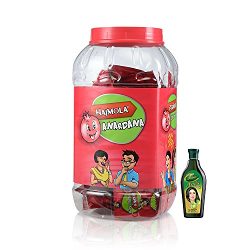 Dabur Hajmola Anardana Jar, 160 Sachets with Free Dabur Amla Hair Oil, 25ml